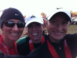 My wife Amy (left), friend Jennie (middle) and I at the Perfect 10 Miler