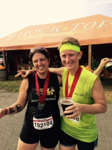 My BFF Megan & I enjoying a beer after the Warrior Dash!