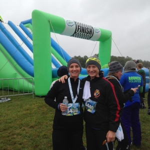 Amy & I at the finish line of the Inflatable 5k